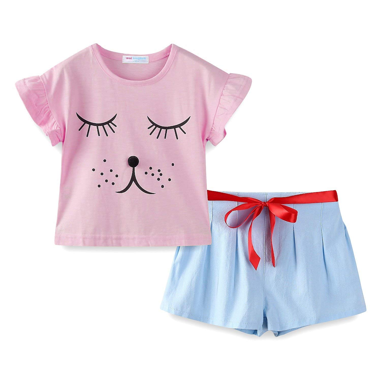 51542a6a166 Get Quotations · Mud Kingdom Girls Outfits Summer Holiday Cute Eyes Closed  Puppy
