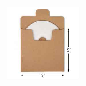 High Quality 5 x 5 Kraft Paper CD DVD Sleeves Envelopes Brown CD Paper Cardboard Kraft Paper Sleeves