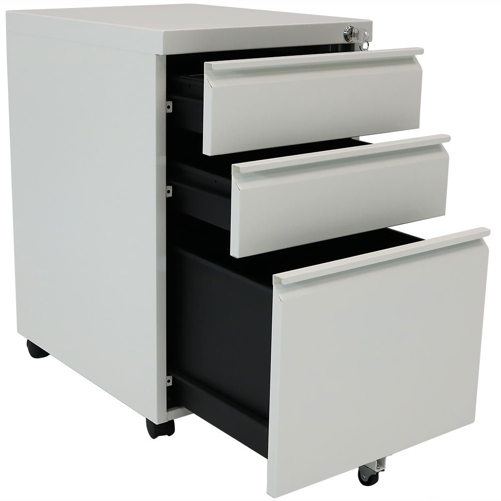 Get Quotations · Rolling Steel 3 Drawer Wheeled Mobile File Cabinet With  Lock For Home Or Office By