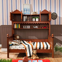 Natual solid wooden care bunk bed for children