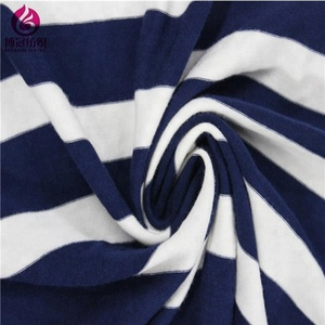Hot sell Shaoxing factory 250GSM single jersey knitted stripe Rayon spandex fabric