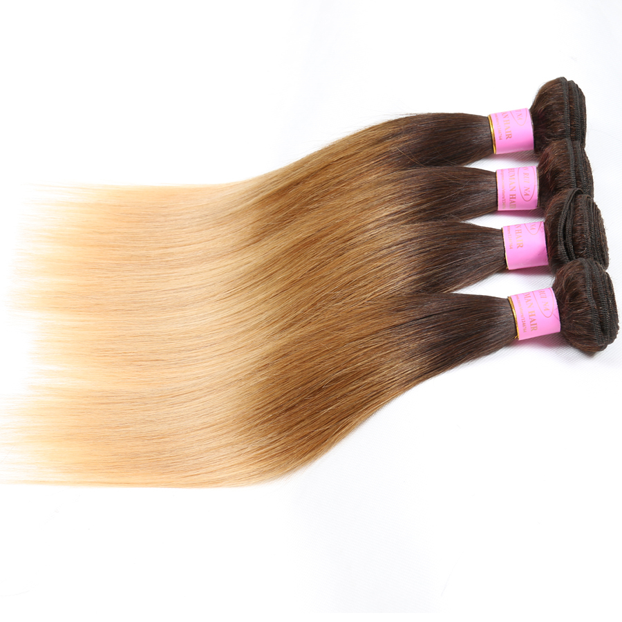 Virgin Brazilian Straight Hair Weave Three Tone Ombre Hair Extensions 1B 4 27 Ombre Three Tone Hair Weave, 3 Tone Human Hair