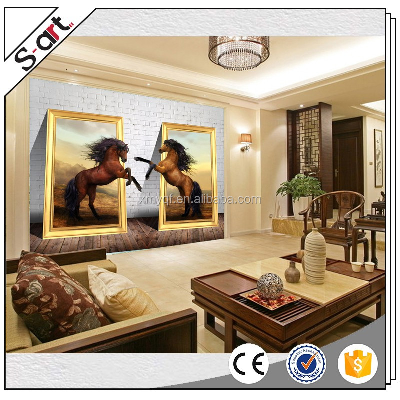 Handpainted 3d horse oil painting on canvas for home hotel cafe office wall decoration