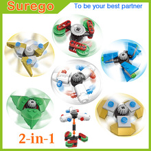 6pcs/Set DIY Buildable Finger Spinner Building Blocks Spiner Plastic Hand Toy Rotating Top Beblade For Kids Adult Anti StressToy