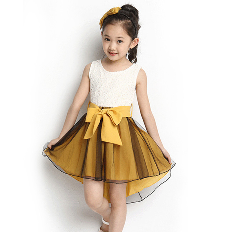 Teenage Girls Elegant Birthday Dress Kids Sleeveless Dovetail Mesh Dresses Children's Prom Dress Adults Summer Clothing CA195
