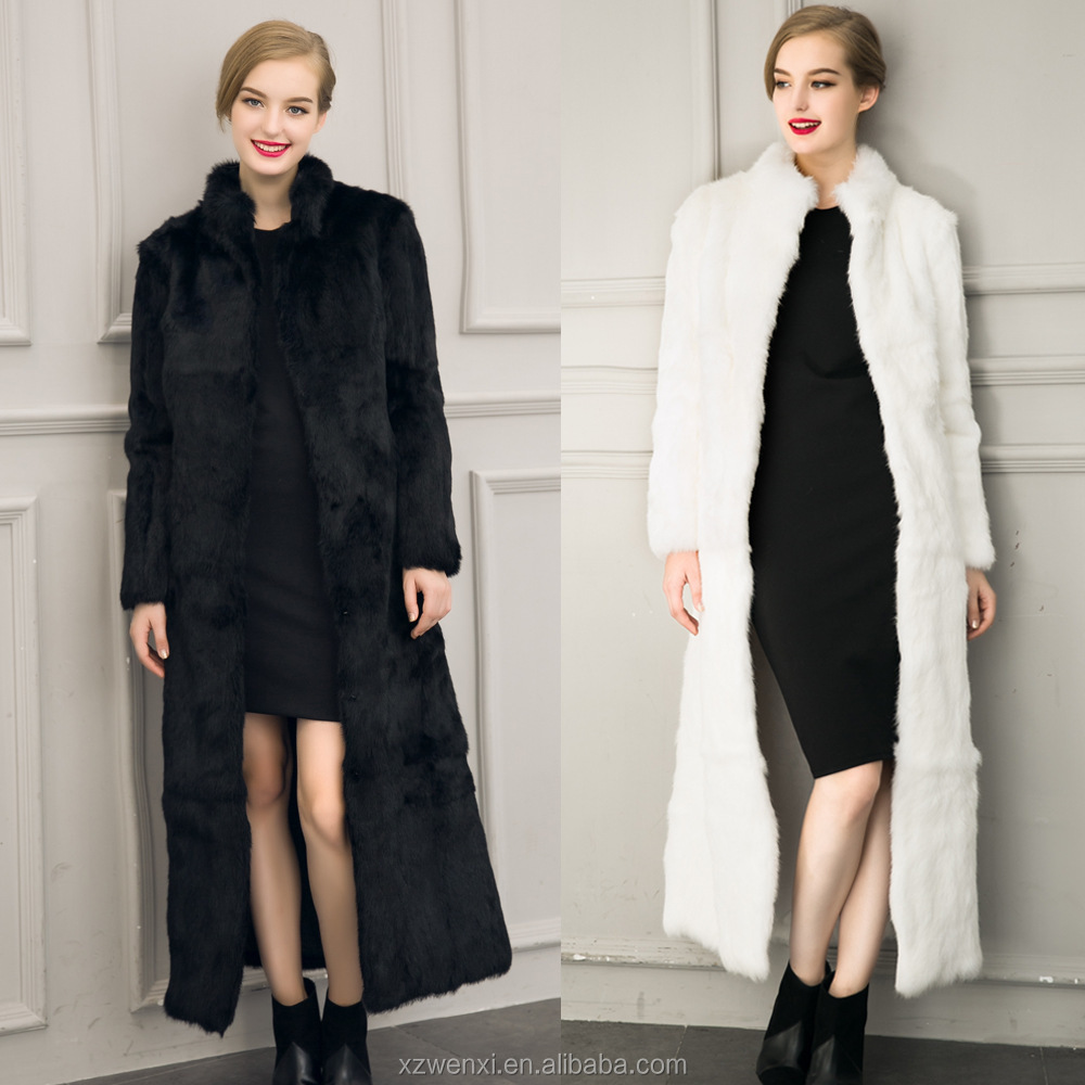 2016 new product high-grade imitation rabbit and fox fur lady long over coat