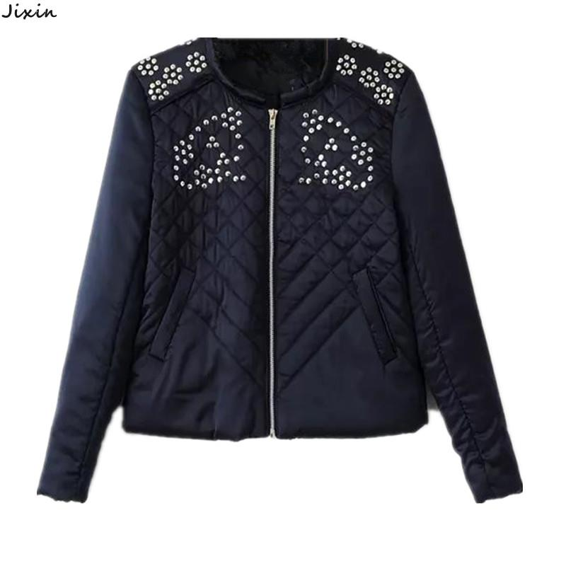 Autumn Women Jacket And Coats Decorative Sequins Quilted Zipper Dark Blue Thin Basic Jacket Chaquetas Mujer Casaco Feminino