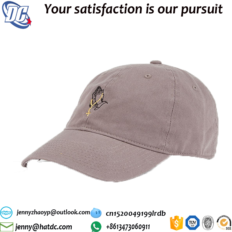 Flat embroidery plain distressed baseball cap button adjustable strap