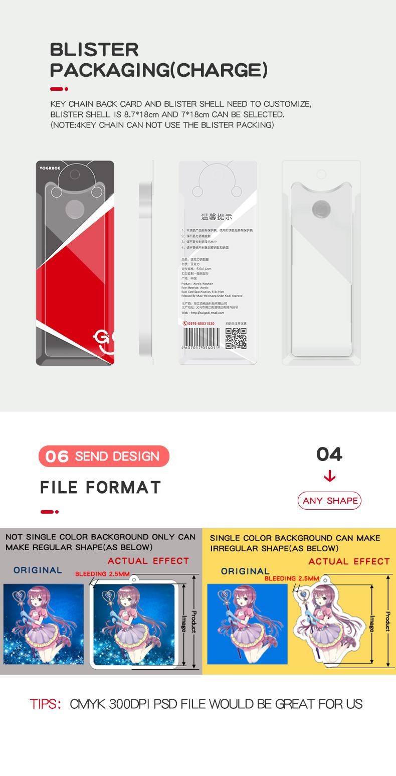 2019 keycharm Vograce new design best selling chaveiro acrílico chaveiro de metal da china personalizado anime keychain acrílico