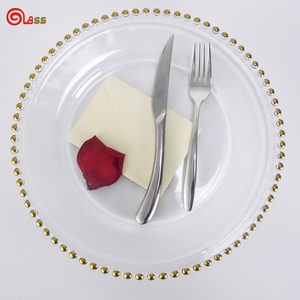 Gold rim glass charger plates dinnerware set fruit service plate for wedding banquet