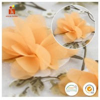 China supplier 3d petals polyester woven embroidered organza fabric for dress
