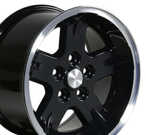 15x8 Wheels Fit Jeep Wrangler - Wrangler Style Black w/Mach'd Lip Rims - SET