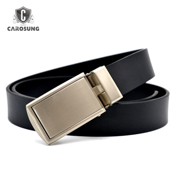 Quick release slide ratchet Automatic Buckle Leather Belt For Men