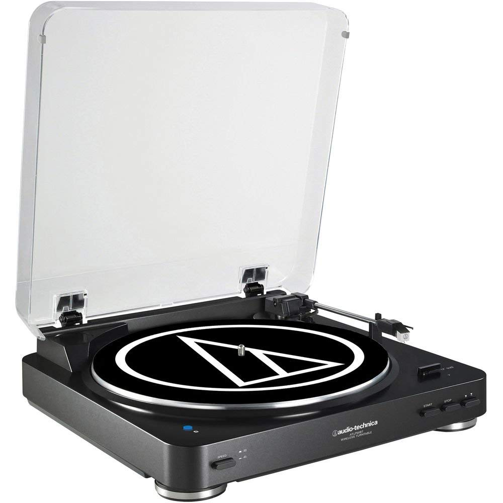Audio Technica AT-LP60 Fully Automatic Belt-Drive Stereo Turntable with Two Speeds 33-1/3, 45 RPM and Anti-resonance, Die-cast Aluminum Platter Bundle with Anti-Static Record Cleaner Brush - Silver
