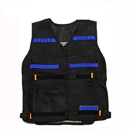 Tinksky Tactical Vest Adjustable for Nerf N-Strike Elite Battle Game gifts for men (Black+Blue)