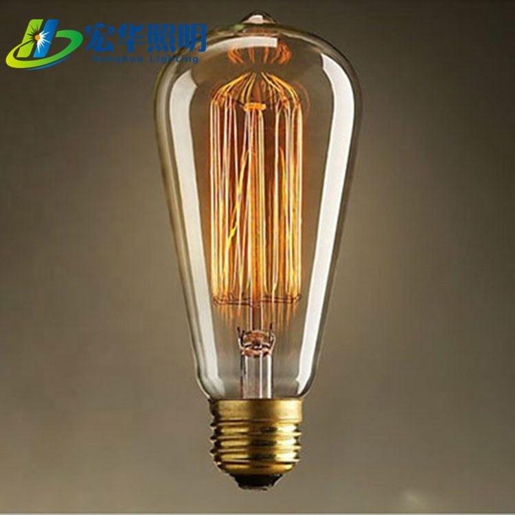 ST64 40W E27 retro incandescent Edison squirrel cage light bulb lamp for decoration