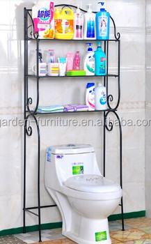 Home Decorative Free Standing Garage 3 Tier Wrought Iron Bathroom Organizer Storage Rack Over