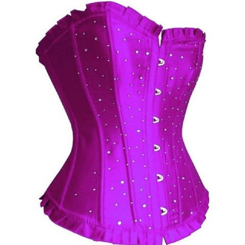 5001cc0ff57 Get Quotations · Lady Fashion Corset Bustier Top Gorgeous Diamante Satin  Sweethear Lace Up Back Burlesque Basque Lingerie Plus