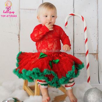 Merry Christmas Clothes Lace Romper & Red Green Pettiskirt Girl Boutique  Fall New Year Outfit Cute - Merry Christmas Clothes Lace Romper & Red Green Pettiskirt Girl