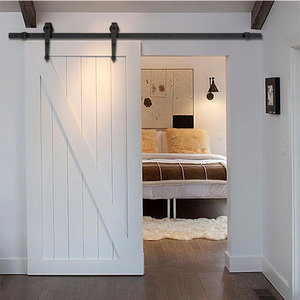 Hotel White Painted MDF sliding barn door for bathroom