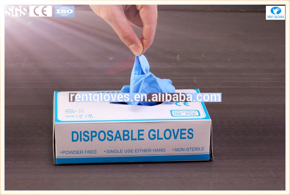 Disposable powder free medical safety Nitrile Gloves colored factory Malaysia