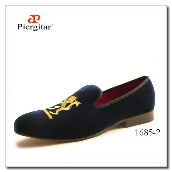 Handmade Velvet Loafers Lion Embroidered Navy Slippers Shoes
