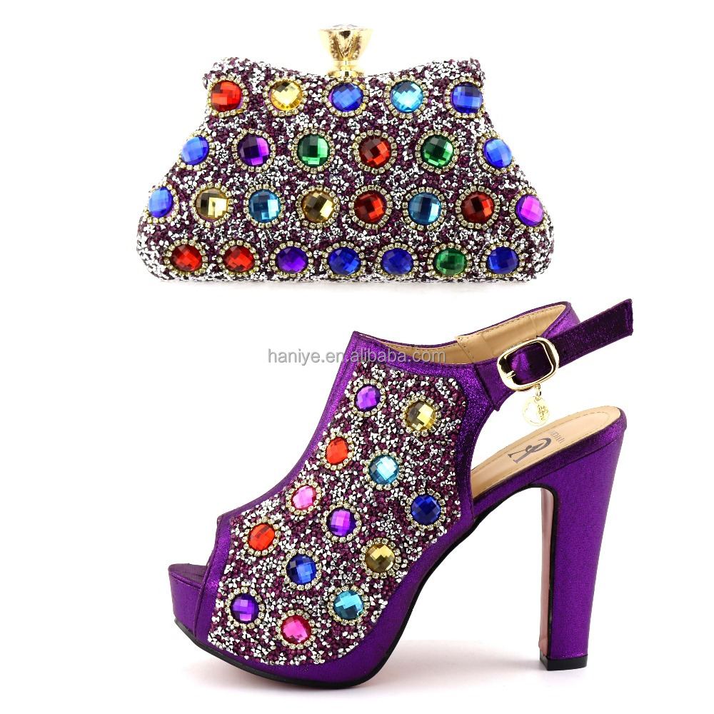 Lady shining bag bag high Fashion and shoes matching shoes for heel style party African high set New Italian quality mules Women AtwxzHaqH
