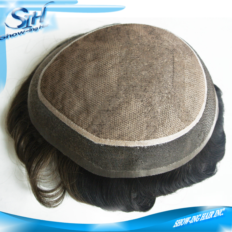 Invisible knots natural hairline french lace silk top toupee for men