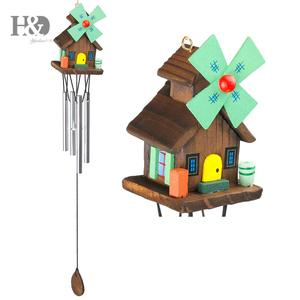 H&D Amazing Log-cabin Deep Resonant 4 Tube Windchime Church Bells Wind Chimes Wall Hanging Home Decor