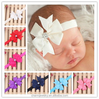 NEW Baby Headbands Boutique solid bows +elastic bands+Rhinestone hair accessories for kids BTS001