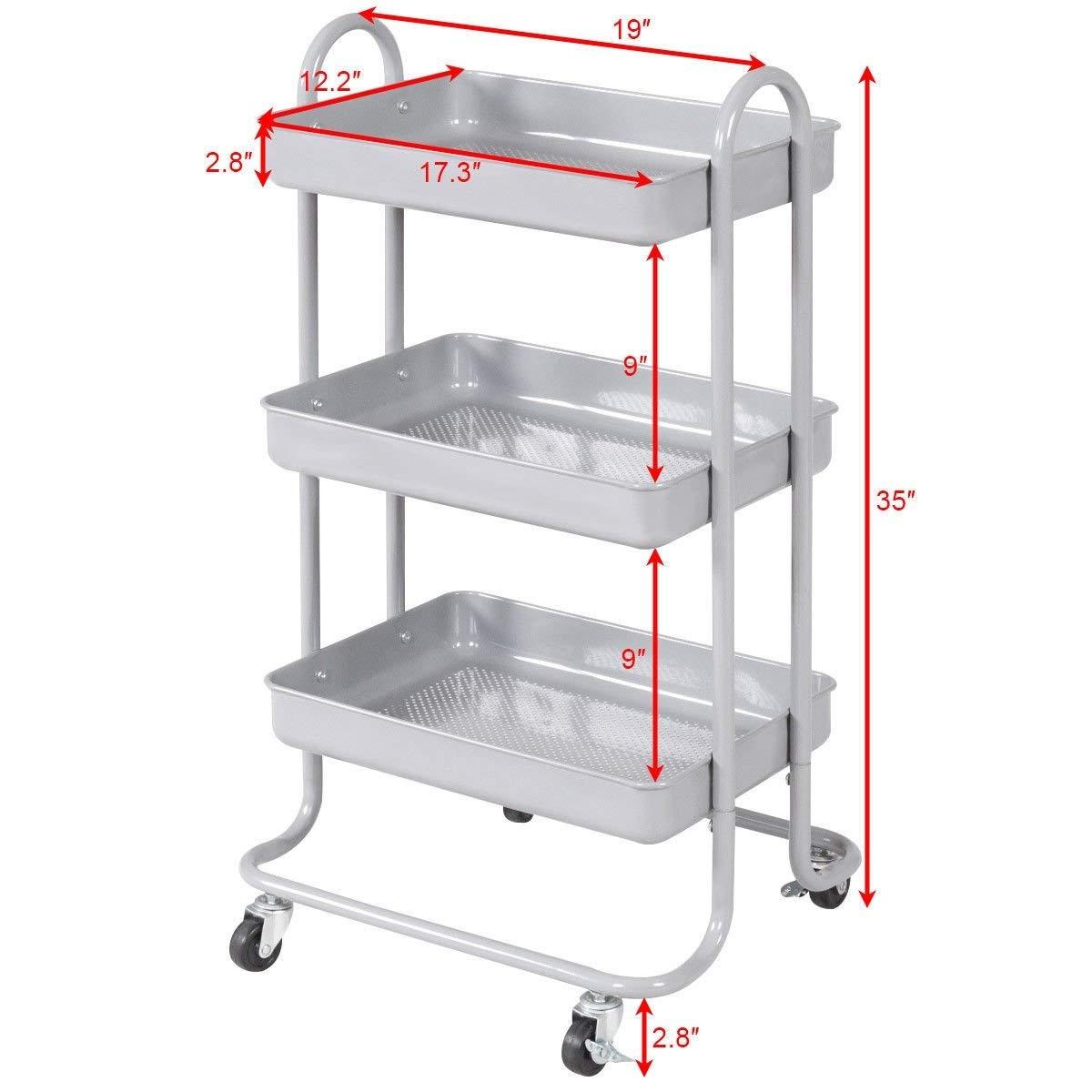 Svitlife 3-Tier Steel Rolling Kitchen Trolley Cart Storage Serving Island Utility Gray Rack Island Tiers Tier Shelf Utility 3 Mesh 5 Basket Top Stainless 4 Wheels