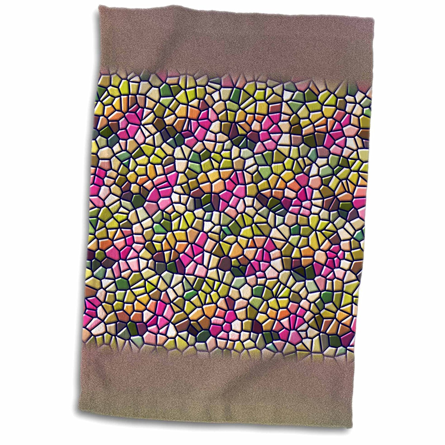 3dRose Russ Billington Designs - Abstract Mosaic Design in Soft Pink and Green - 12x18 Towel (twl_238888_1)