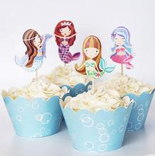 24 Mermaid Cupcake Toppers Picks & Wrappers-Rode Vos Staart
