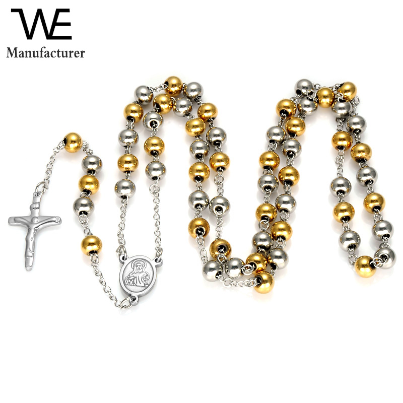 8mm Fashion Men's Prayer Beads Pendant 316L Stainless Steel Chaplet Rosary Cross Necklace Environment Friendly