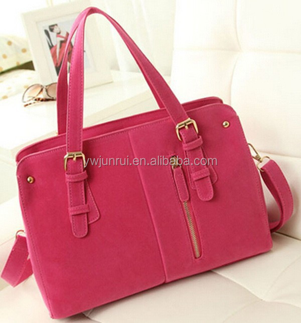 Korean trendy pure colour satchel bags top quality suede handbags in cross body bags
