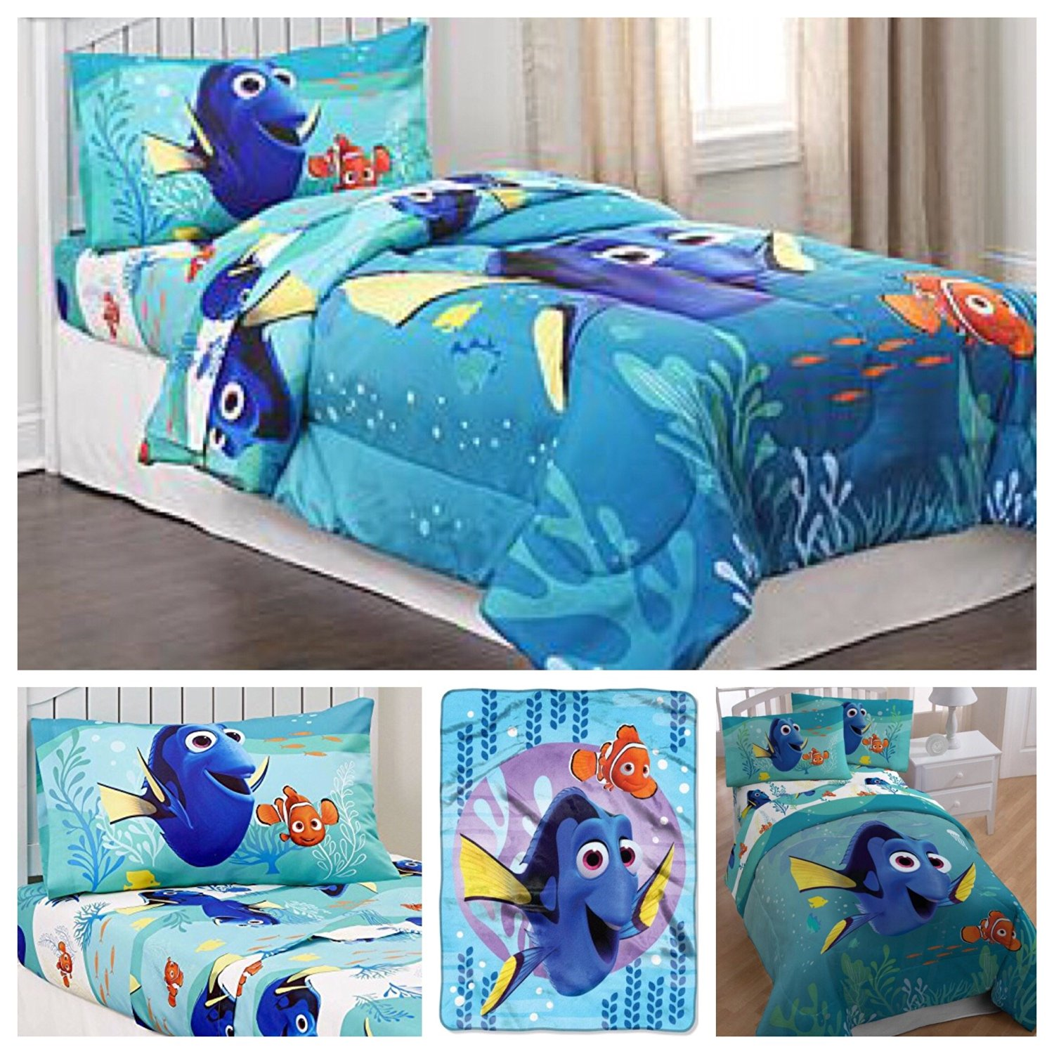 Get Quotations Disney S Finding Dory Complete 5 Piece Bedding Comforter Set Twin