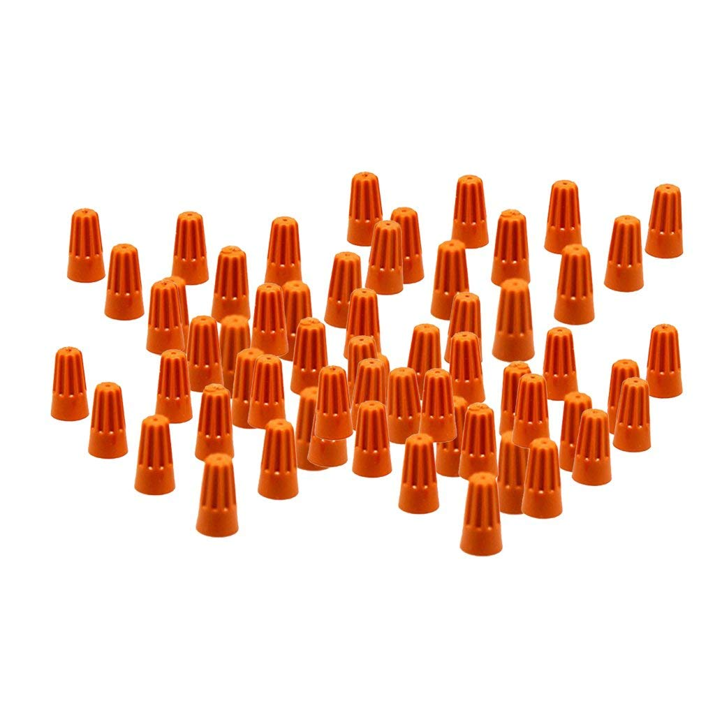 MagiDeal 100 Pieces Electrical Wire Connector Twist-On Easy Screw On Type Caps - Orange