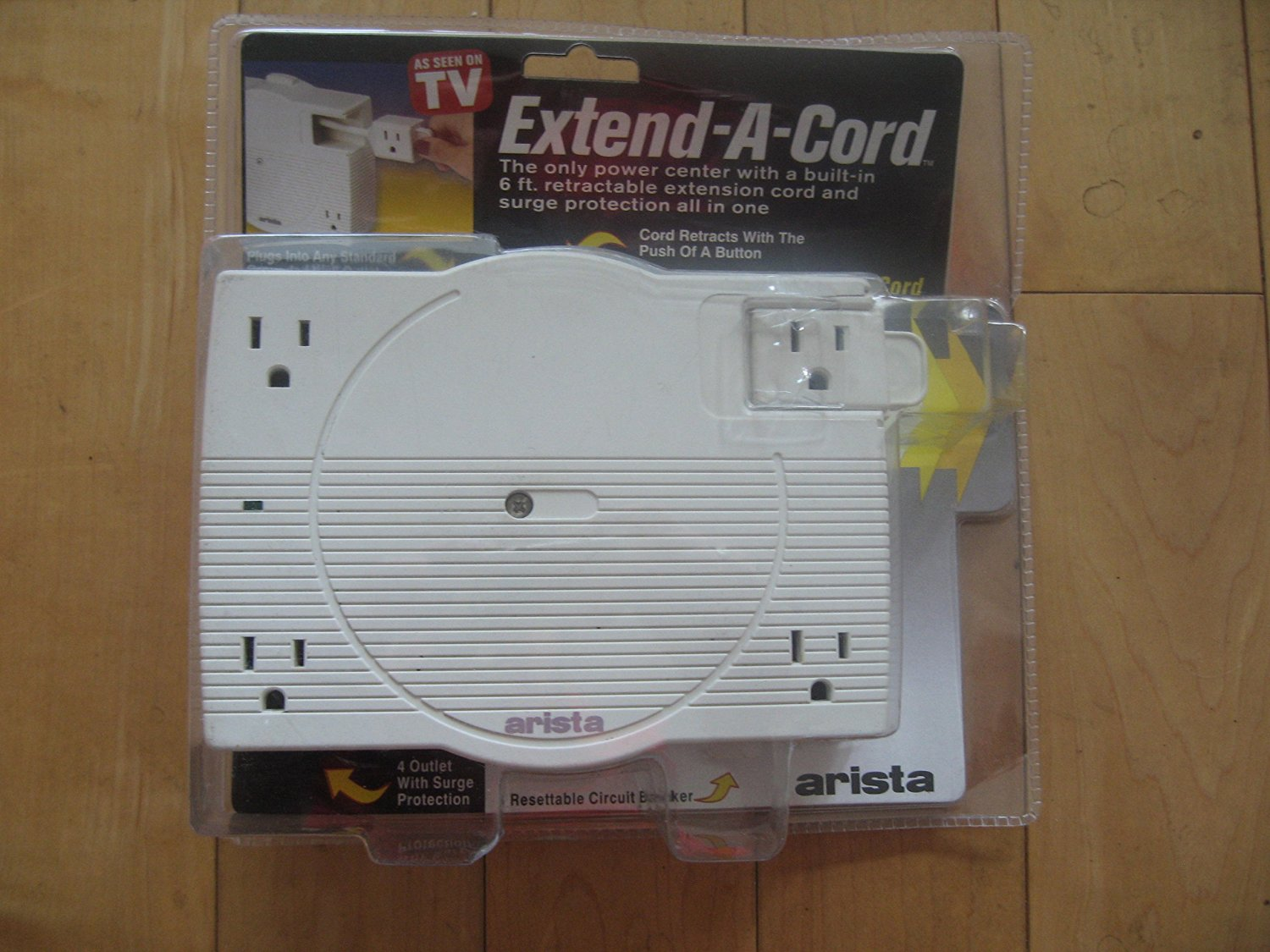 Arista Extendable Cord Extend-A-Cord Power Center with 6 ft. Retractable Extension Cord Off-White (52-1000)