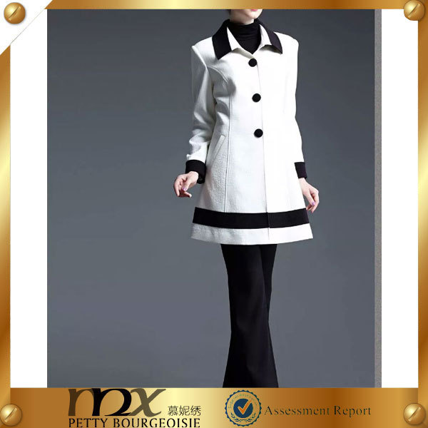 high quality white fabric classic design fashion coat