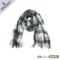 100% acrylic white black checked scarf/pashmina shawls