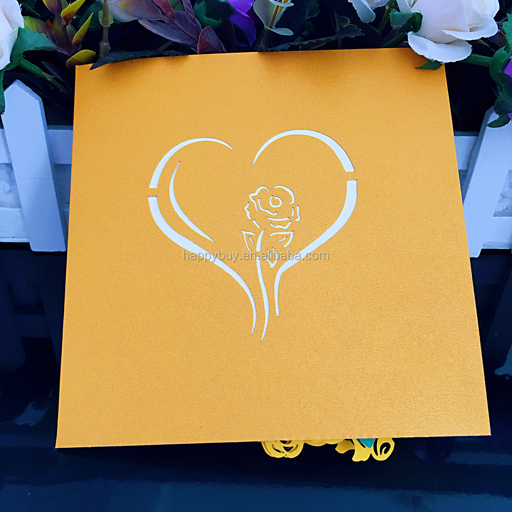 beautiful yellow rose flower 3D pop up Valentine's Day card laser cutting wedding card