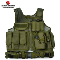 Adjustable Hunting Military Molle Style Tactical Vest with Pouches and Pistol Holster