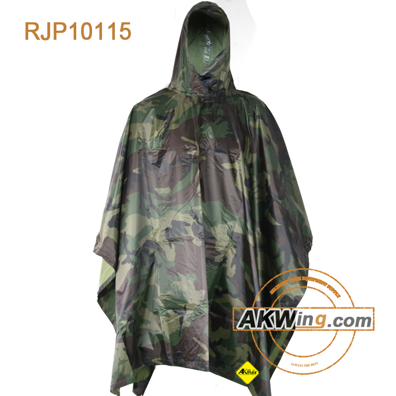 Fox Military Style Rain Poncho - Ripstop - Olive Drab Woodland Camouflage