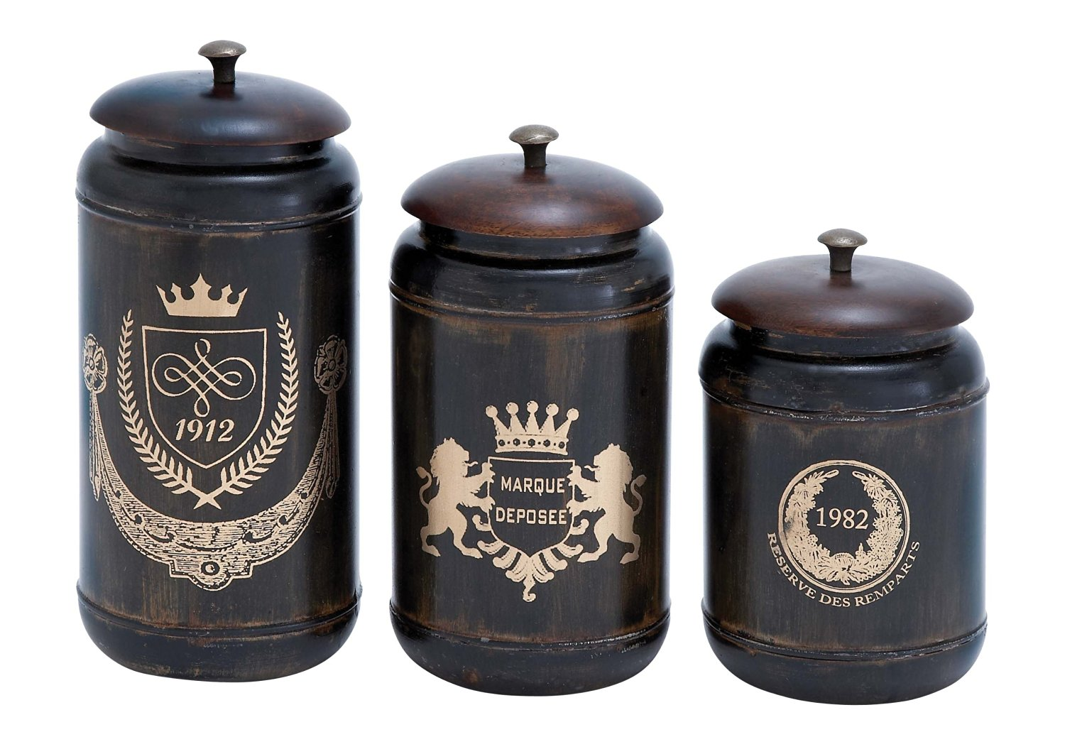 Plutus Brands Canisters with Cylindrical Jars and Matching Lids, Set of 3