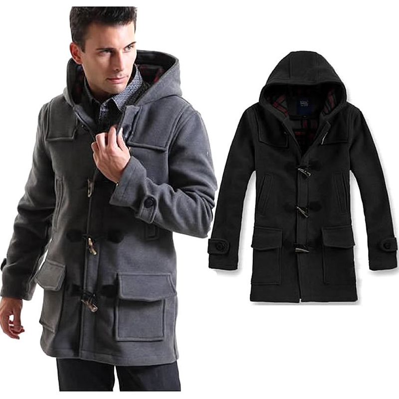 Hooded Mens Pea Coat Coat Nj