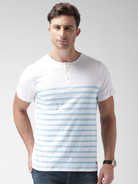 Fashionable white and blue striped printing T-shirt with short sleeves