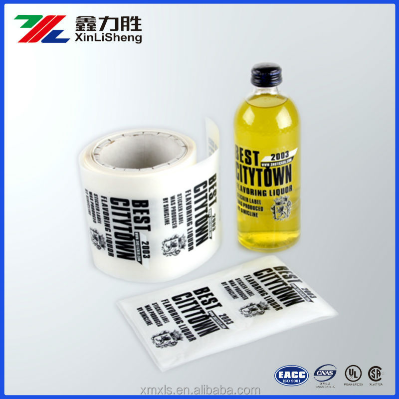 Transparent PET Glossy Bottle Stickers ; Plastick Bottle adhesive labels with custom printed ;transparent bottle label