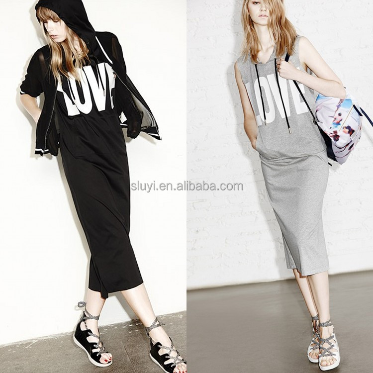 New fashion products printing casual dress maxi hoodie style wholesale high quality cool lady hoodie dree