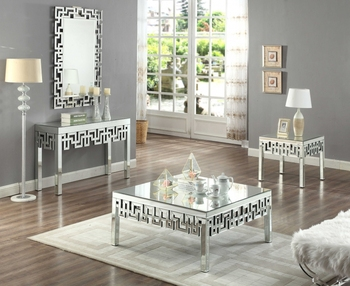 Living Room Furniture Set Classic Beveled Mirrored Coffee Side Table ...
