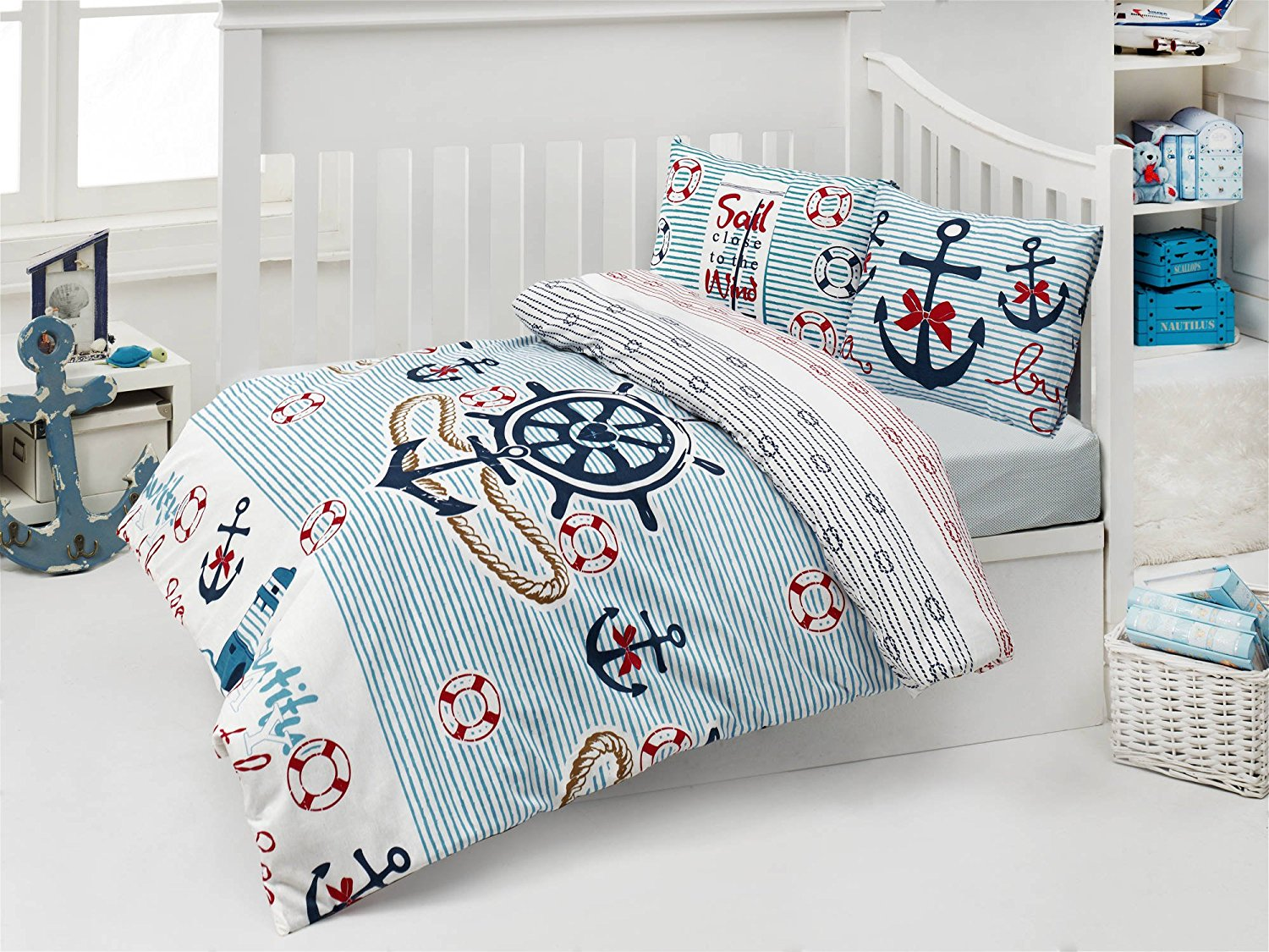 LaModaHome 5 Pcs Baby Boat Anchor Sea Water Buoy Rope Sky Blue Toddler Cotton Bedding COTTON COMFORTER Set, Turkey 100% Cotton Nursery [with COTTON Quilt/Comforter]